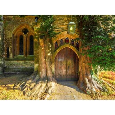 Puzzle Grafika-02938 St Edward's Parish Church north door flanked by yew trees