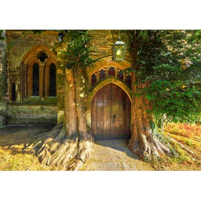 Puzzle  Grafika-02939 St Edward's Parish Church north door flanked by yew trees