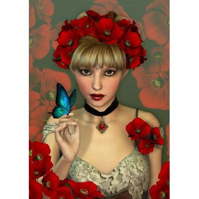 Puzzle Grafika-T-00093 Frau und Schmetterling