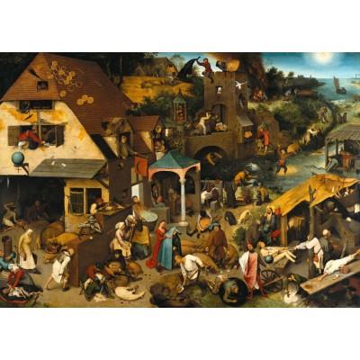 Puzzle Grafika-T-00154 Brueghel Pieter: Die niederländischen Sprichwörter, 1559