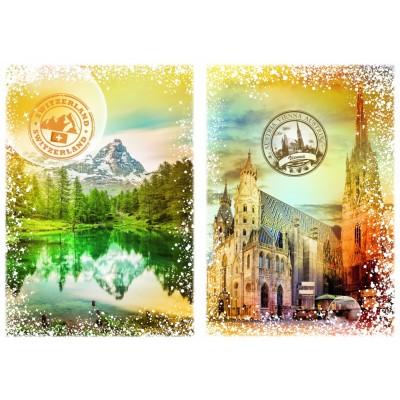 Puzzle Grafika-T-00235 Travel around the World - Österreich und die Schweiz