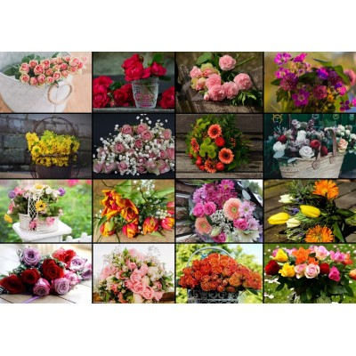 Puzzle Grafika-T-00520 Collage - Blumen
