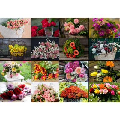 Puzzle Grafika-T-00521 Collage - Blumen