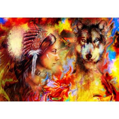 Puzzle  Grafika-T-00686 Die indische Frau und der Wolf