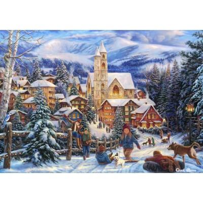 Puzzle Grafika-T-00723 Chuck Pinson - Sledding To Town