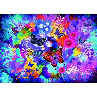 Puzzle  Grafika-T-00743 Bunte Blumen und Schmetterlinge