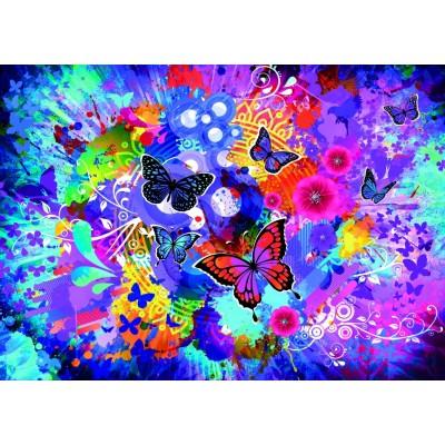 Puzzle  Grafika-T-00744 Bunte Blumen und Schmetterlinge