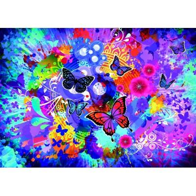 Puzzle Grafika-T-00745 Bunte Blumen und Schmetterlinge
