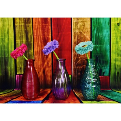 Puzzle Grafika-T-00861 Geblühte und bunte Vasen