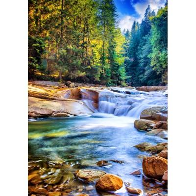 Puzzle Grafika-T-00878 Schöner Wasserfall im Wald