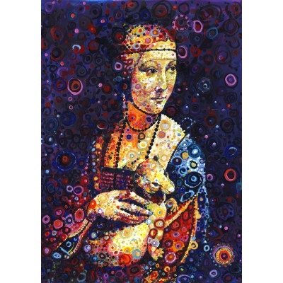 Puzzle Grafika-T-00889 Leonardo da Vinci: Lady with an Ermine, by Sally Rich
