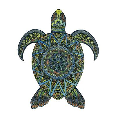 Harmandi-Puzzle-Creatif-90024 Holzpuzzle - Die Tropische Schildkröte