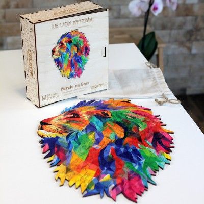 Harmandi-Puzzle-Creatif-90130 Holzpuzzle - The Mozaik Lion