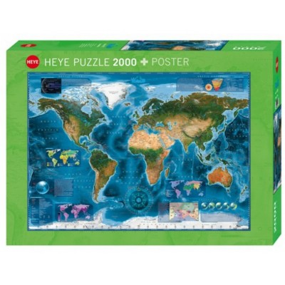 Puzzle  Heye-29797 Satelliten-Karte der Welt