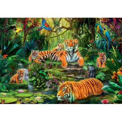 Puzzle  Jumbo-17245 Tiger Familie in der Oase