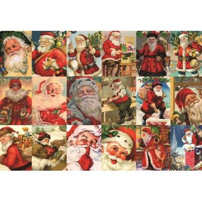 Puzzle  Jumbo-18589 Vintage Weihnachtsmänner