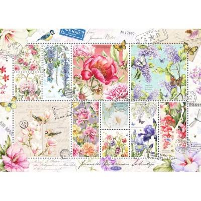 Puzzle  Jumbo-18597 Blumen Briefmarken