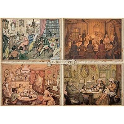 Puzzle  Jumbo-18856 Premium Collection - Anton Pieck, Living Room Entertainment