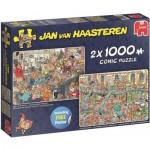 Jumbo-19082 2 Puzzles - Jan Van Haasteren - Weihnachtswerkstatt