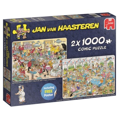 Jumbo-19083 2 Puzzles - Jan Van Haasteren - Food Frenzy