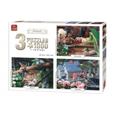 King-Puzzle-05206 3 Puzzles - Animals Collection