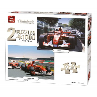King-Puzzle-05214 2 Puzzles - Racing Cars Collection