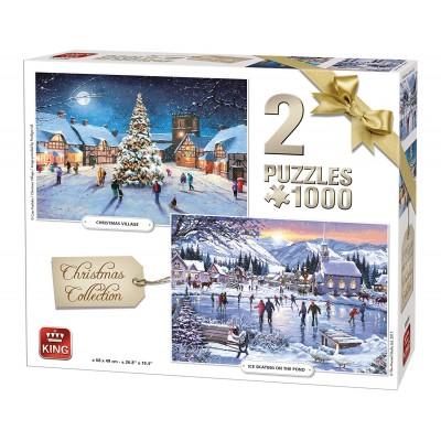 King-Puzzle-05217 2 Puzzles - Weihnachten Winterkollektion