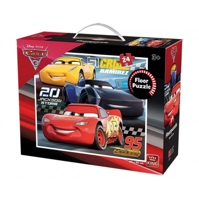 King-Puzzle-05276 Riesenboden Puzzle - Cars 3