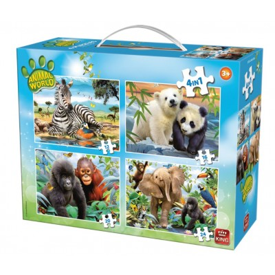 King-Puzzle-05321 4 Puzzles - Animal World