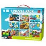 King-Puzzle-05520 9 Puzzles - Lustige Fahrzeuge
