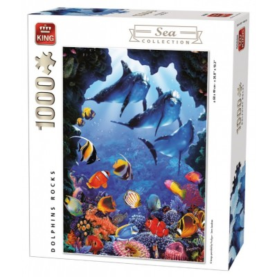 Puzzle King-Puzzle-05667 Dolphins Rocks