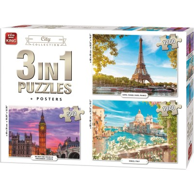 King-Puzzle-55876 3 Puzzles - City Collection