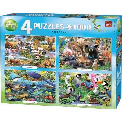 King-Puzzle-55930 4 Puzzles - Animal World