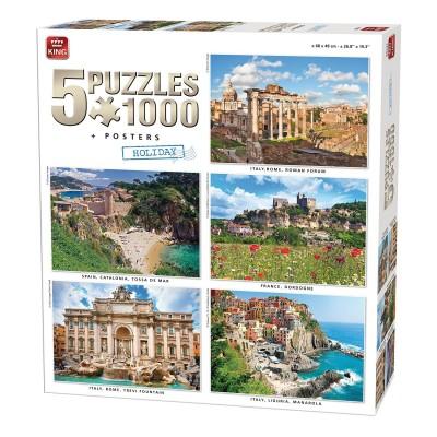 King-Puzzle-85531 5 Puzzles + Poster - Europas schönste Seiten