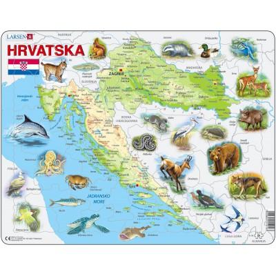 Larsen-A19-HR Rahmenpuzzle - Kroatien und seine Tiere (auf Kroatisch)