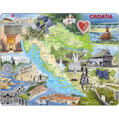 Larsen-A21-GB Rahmenpuzzle - Kroatien und seine Sehenswürdigkeiten (auf Englisch)
