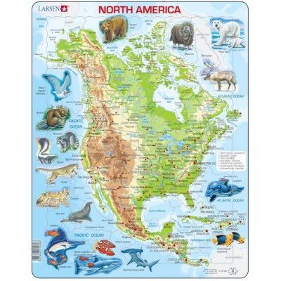 Larsen-A32-GB Rahmenpuzzle - Nordamerika (auf Englisch)