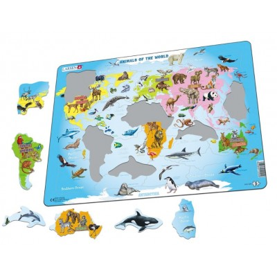 Larsen-A34-NL Rahmenpuzzle - Animals of the World (Holländisch)