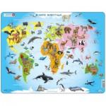 Larsen-A34-RU Rahmenpuzzle - Tiere der Welt (auf Russisch)