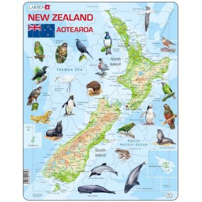 Larsen-A4-GB Rahmenpuzzle - New-Zealand Physical With Animals (Text in englischer Sprache)