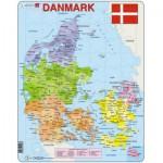 Larsen-A6-DK Rahmenpuzzle - Karte von Dänemark (auf Dänisch)