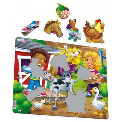 Larsen-BM6 Rahmenpuzzle - Kinder auf dem Bauernhof