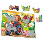Larsen-BM7 Rahmenpuzzle - Kinder auf dem Bauernhof