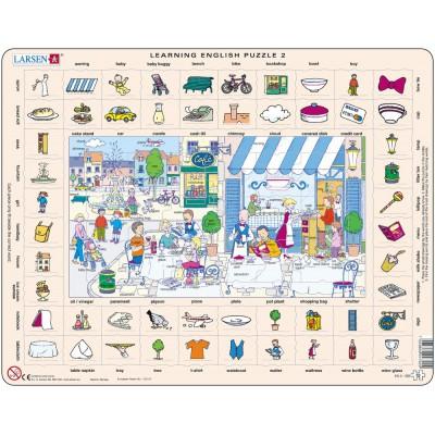 Larsen-EN2-GB Rahmenpuzzle - Learning English 2: Im Restaurant und in der Stadt