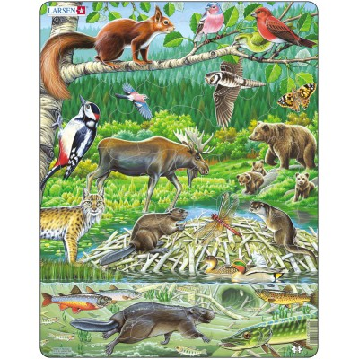 Larsen-FH15 Rahmenpuzzle - Tiere des skandinavischen Waldes