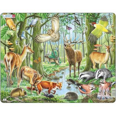 Larsen-FH17 Rahmenpuzzle - Tiere des europäischen Waldes