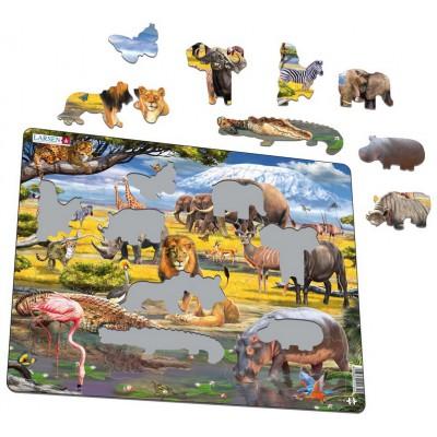 Larsen-FH30 Rahmenpuzzle - Tiere der Savanne