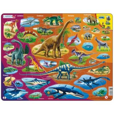 Larsen-HL1-ES Rahmenpuzzle - Dinosaurier (auf Spanisch)