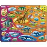 Larsen-HL1-GB Rahmenpuzzle - Dinosaurier (auf Englisch)