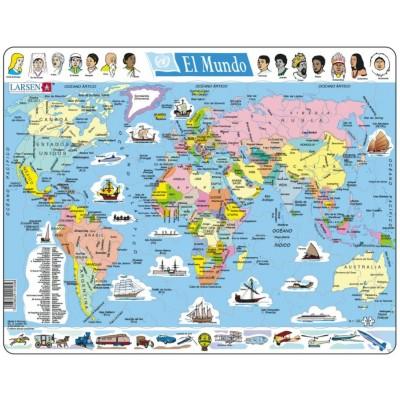Larsen-K1-ES Rahmenpuzzle - El Mundo (auf Spanisch)
